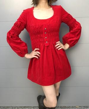 Vintage red velour mini dress (ヴィンテージ 赤 ベロア ミニドレス)
