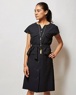 LINEN THE LIFE IN TOKYO DRESS/BLACK