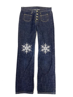 EMBROIDERY BOOT-CUT JEANS W72CM
