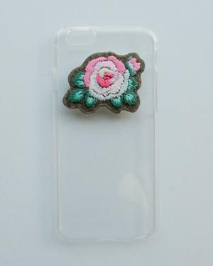 刺繍のクリアケース・rose/iphone6