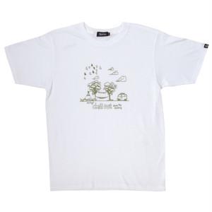 後染めプリントTシャツ ホワイト