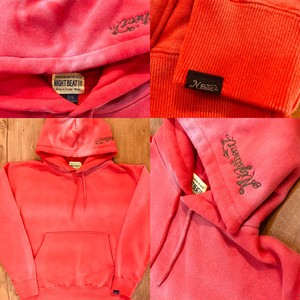 【NIGHTBEAT 】 ナイトビート EMBROIDERY WASHING PARKA  (RED)  スエットパーカー