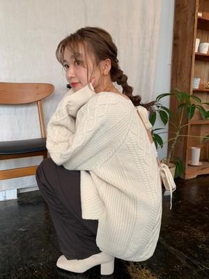 Back two ribbon open knit