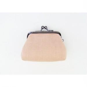 安曇野木綿の手作りがま口小銭 2.5寸角型 桃/国芳風ターコイズ