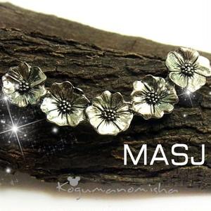 USAブランド MASJ★かわいいお花 ピューター 彫金 ヴィンテージ バーブローチ 1994年作 渋かわ