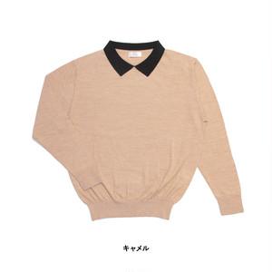 atelier naruse cottonwool with collar knit / アトリエナルセ コットンウール衿つきニット
