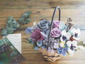 Panier de violet Antique  * すみれ色花かご アンティークアレンジ*プリザーブドフラワー*花*ギフト