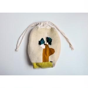 ita shiori 【 uchibukuro ( cactus ) 】 handmade / 麻 / vintage / いたしおり / 巾着バッグ /  japan