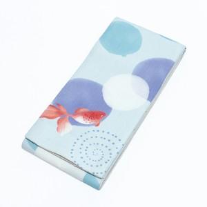 半幅帯、小袋帯、麻、金魚、水玉、水色