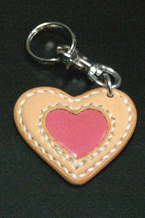 【FLAT FIELD】LEATHER KEY RING / Natural×Pink