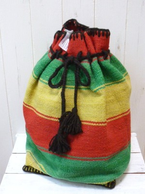 SALE!! Wool Canvas Border Laundry Bag/Peru Knit (ウールキャンバス ボーダー ランドリーバッグ/バックパック)