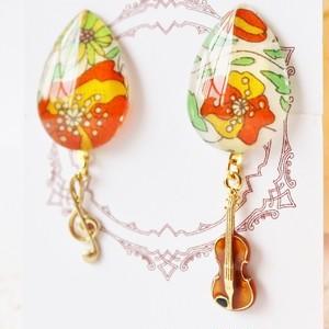 ヴァイオリン女子必見!秋色ドロップ型イヤリング
