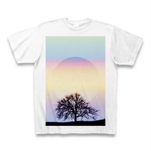 虹色とミニマル図形Tシャツ(円と木のシルエットと)