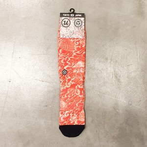 "THREE TIDES TATTOO x UBIQ ""IREZUMI"" SOCKS【輪入道RED】 Designed by NAMI"