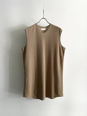 T/f Lv2 cotton waffle sleeveless top - sand