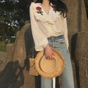 花刺繍 フリフリ襟 薄手 夏シフォン オーガニック トップス tops746