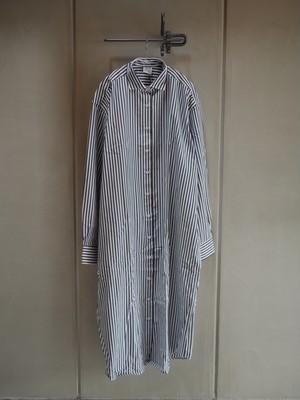 Baserange / OLE SHIRT DRESS-POPELINE (BLACK STRIPE)