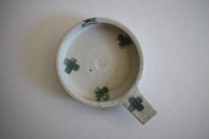原田晴子|Dip Dish 白地に緑クロス