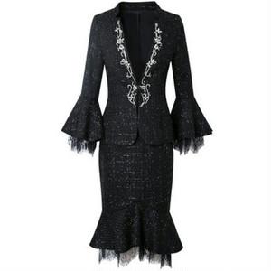スーツセットアップツイードジャケット+スカートブラック/ホワイト