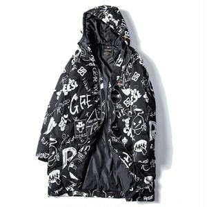 送料無料/メンズ/大きいサイズ/黒/ロゴ&ユニーク模様/中綿コート