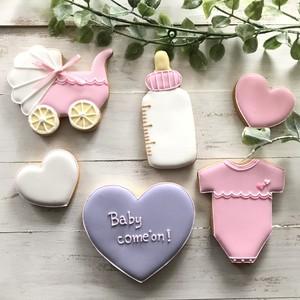 [ご注文より2週間後の発送です]出産祝アイシングクッキーセット(女の子)