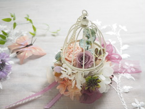 Birdcarge <Botanical violet> * 鳥かご ボタニカルアレンジメント プリザーブドフラワー 花