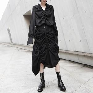 レディース モード系 ブラック系 黒系 ゴシック モノトーン スカート ギャザー シャーリング 変形 デザイン おしゃれ 大人可愛い