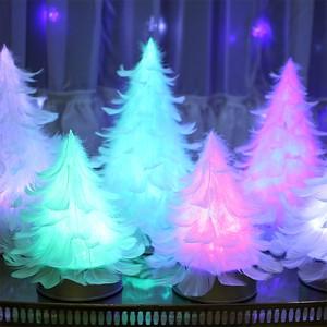 【7色に光りながら回る羽ツリー】テーブルサイズ   LEDライト付き完成品 feather tree light 006