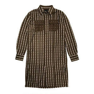ILL IT - CROSS DOT LONG SHIRT (BROWN) -