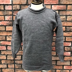 Guernsey Sweater Woollens R/N Gray Made In England UK36