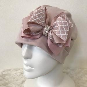 キラキラビジューとモロッカンリボンのケア帽子 ピンク4