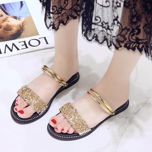 【shoes】ラインストーンキラキラお流行りファッション3色サンダル