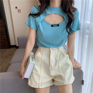 【トップス】韓国系半袖ラウンドネックプルオーバー透かし彫りTシャツ42787353