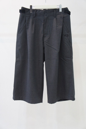 Classic Winter Wool Cropped Wide Pants -CHARCOAL- / Y-3