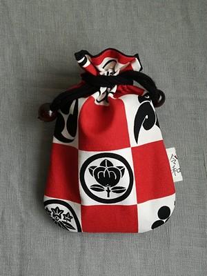 令和巾着★日本の家紋柄しっかりした帆布ミニ巾着