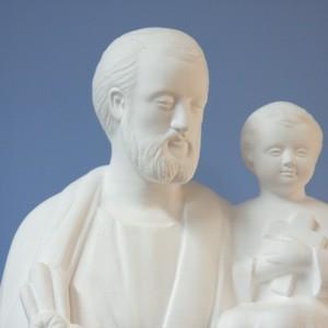 聖ヨゼフと御子像【39cm】室内用白色仕上げ