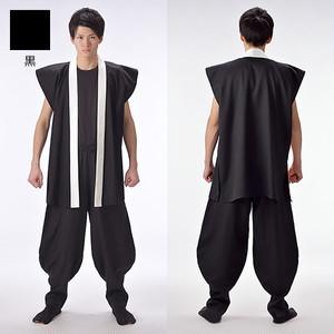 袖なし半天 黒 綿【日本製】よさこい衣装 太鼓衣装 飲食店ユニフォーム