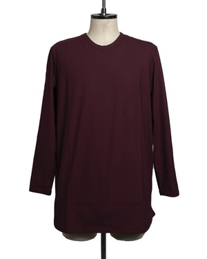 T/f long sleeve round cut top - matured berry