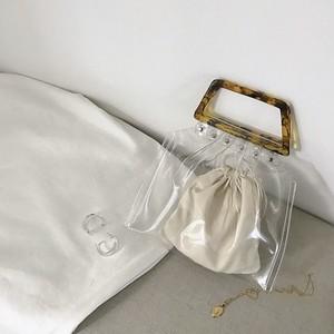 -SALE- Tortoiseshell  handle clear pvc bag