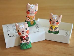 プレゼントに♪おとぎ話のゆび人形・三匹の子ブタ