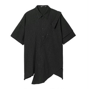 送料無料/メンズ/黒/アシンメトリー/オーバーサイズ/半袖シャツ