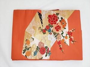 名古屋帯 赤橙色 宝相華 牡丹 梅文様 着物 和服 服飾雑貨 女性 DN-6
