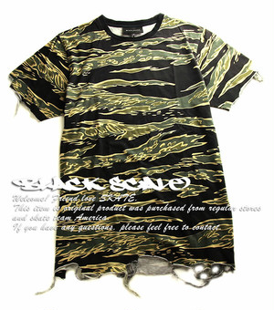BLACK SCALE(Tシャツ/迷彩)The Destroyed Tee in Tiger Camo ブラックスケール 5276