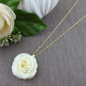 バラのネックレス プリンセス1輪 白&ゴールド