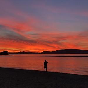 【ギフトボックス付き】山田海岸の夕焼け/レッグウォーマー3色セット/暖かな色合いのカラーセット/ギフトラッピング付き