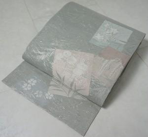 【夏帯】 紗 袋帯 花柄 色紙 正絹 銀糸 グレー 142