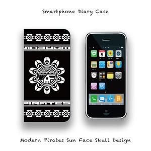Smartphone Diary Case / Modern Pirates Sun Face Skull Design 001