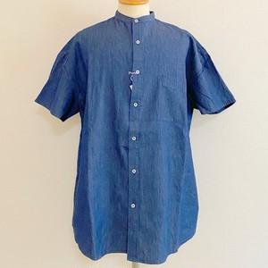 Linen Dungaree Band Collar Short Sleeve Shirts Indigo