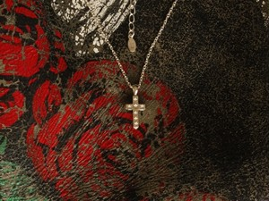 Star Stamped Cross Necklace -small-