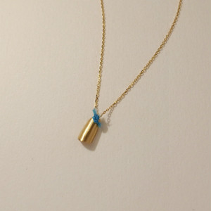 18金ゴールドネックレス:ロール(M)Blue